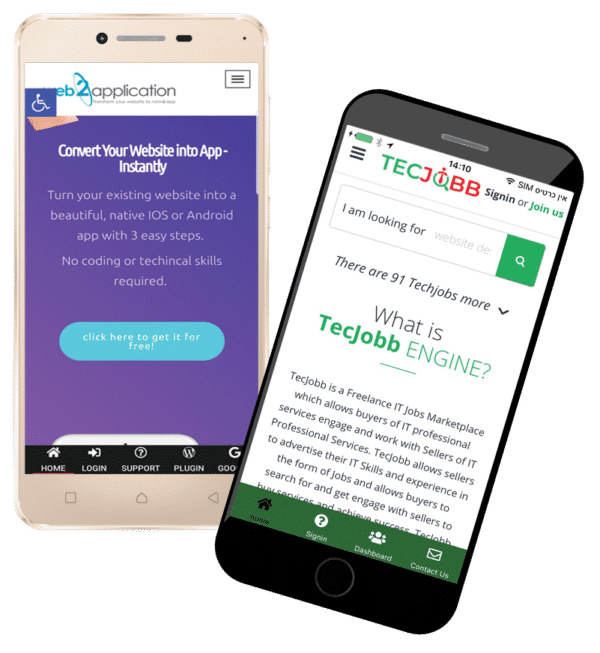 sample of converted website to android and IOS apps